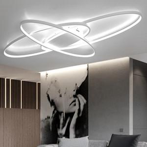 2020 Led Uzaktan Modern Led Avize Livingroom Yatak plafon led Beyaz / Siyah Modern avize Fikstür karartma Sıcak yeni tasarım ışıkları