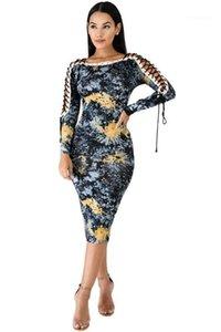 Женская Тонкий Flora Printed платья Sexy Разрез шеи Dew плеч Длинные рукава дамы платья женской одежды