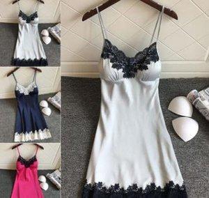 Nightgowns Sleepshirts Nightdress Pads Homwear Sleep Lounge Satin Sleepwear Women Sexy Lingerie with Chest Ladies Nightwear