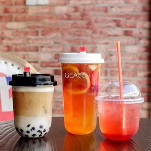 100pcs paquet pêche de fruits en plastique tasse de thé à usage unique lait yogourt transparent perle jus créatif tasse de matière grasse avec couvercle