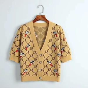 2020 Roupas Femininas Verão Marca Same camisola estilo V Neck Cardgan manga curta roxo Carta Amarelo Luxo