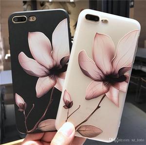 حافظة Mytoto لوتس فلاور لهواتف ايفون 8 بلس 3D Relief Rose Floral Leaf للهواتف ايفون X 7 6 6S بلس 5 SE TPU غطاء شفاف