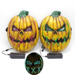 Halloween Led Pumpkin Mask Scary Ghost Cosplay Disfraz Masquerade El Wire Light Up para fiesta Máscaras brillantes Decoraciones HH9-2387