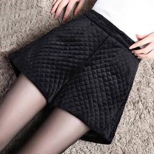 New Gold et de velours Shorts Femmes Automne Hiver vêtements d'extérieur de grande hauteur jambe large Parole Bottes ample Woollen Pantalons