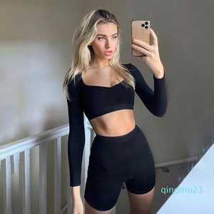 fashion-2020 New Women Sport Set Summer Low-cut Slim Trainning Fitness Tracksuit High Elastic Skinny Outfit Sportwear Streetwear