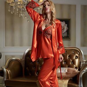 Pajama Set femminile di seta del faux degli indumenti sexy delle donne di raso di seta Pigiama tre pezzi sexy del merletto Home Abbigliamento X1531