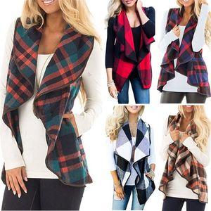 Mujer abrigo a cuadros sin mangas de la solapa de la chaqueta de la manera del chaleco Cardigan con bolsillos de la chaqueta de lana del Cabo Negro Rojo HHA1084