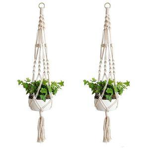 Plante Hangers macramé corde Pots Porte-corde Tenture Planteur paniers suspendus Porte-plantes d'intérieur Flowerpot panier de levage