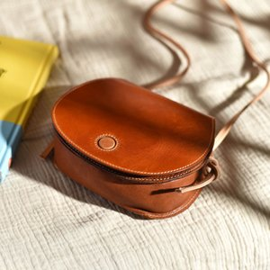 Handmade vegetable tanned leather mini saddle bag small bag leather crossbody shell female