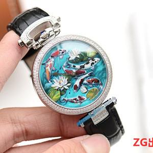 High Quality New Bovet 1822 Amadeo Fleurie 3D Koi Fisch Lotus Dial Schweizer Quarzmens-Uhr der Frauen Diamant-Lünette Lederband Unisexuhren