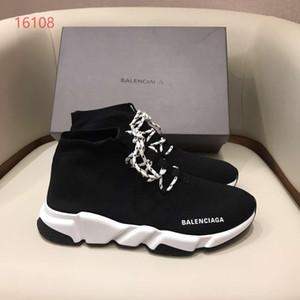 Luxusschuhe atmungsaktive Stretch-Socken Schuhe Männer Frauen beiläufige Spitze-oben Turnschuhe Sportsocken Stiefel schwarz Sohle weiß mit schwarz