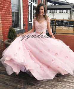 Pink Quinceanera Dresses 2019 Lace Applique Off the Shoulder Masquerade Ball Gowns Junior Sweet 16 Princess Pageant Dress For Girls