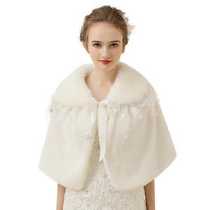 Cinta de piel de marfil de piel falsa de lujo capelet conejo de imitación de piel de novia Mantón del encogimiento de hombros de Marfil Faux Tie capelet con encaje bordado