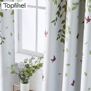 Topfinel Printed Leaves Blackout Curtains For Living Room Bedroom Kitchen Kid Room Polyester Plant Window Treatment Drapes Decor