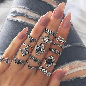 9 stili Bohemian Midi Knuckle Finger Rings Set per le donne vintage retrò argento fiore di loto CrownCrystal anello geometrico gioielli femminili alla rinfusa