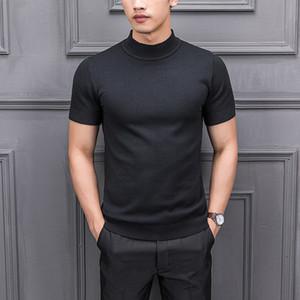 8 colores hombres color sólido medio cuello alto suéter de manga corta suéter masculino moda casual slim fit tejido clima camisetas