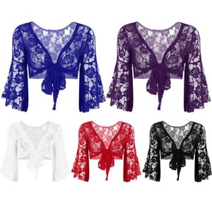Belly IIXPIN Womens Belly Dance Longo alargamento luva borboleta Dancewear Lace Top Shrug Moda Cover Up Abertas Cardigan Frente Wraps