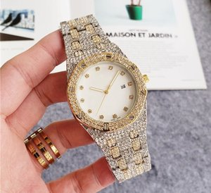 High Quality Luxury Rose Gold Men Woman Diamond Watches Elegant Ladies Dresses Steel Strap Folding Buckle Crystal Wristwatch Gifts For Girls