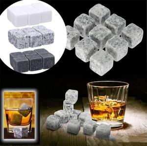 Whiskey Natural Stone Ice Cube passou na certificação CE 9 Peças / Conjunto de ferramentas para decoração de Cerveja Com Saco De Armazenamento XD23373