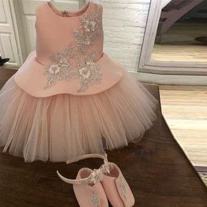 Cute Pink Lace Beaded Flower Girl Abiti Jewel Neck Appliques Toddler First Holy Comunion Dress A Line Bambini abiti da battesimo
