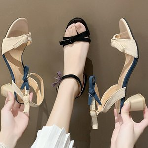 Butterfly-Knot mixed color flock gladiator sandals women open toe buckle band shoes woman thick high heels sandalias femme 2020
