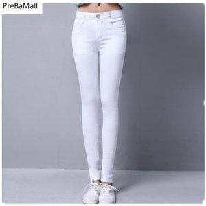 Jeans de mujer Jeans de cintura media Mujer Elastic Stretch Mujer Lavado Denim Skinny Lápiz Pantalones Ropa de maternidad C304