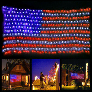 2020 Atmosfer Sıcak LED Net Işıklar Amerikan Bayrağı Işık İçin Festivali Kapalı Açık Dekorasyon yılbaşı kapalı ışıklar