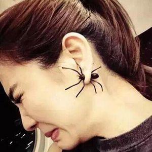 Haloween Parti DIY Dekorasyon Ev Dekorasyon damla gemi için Toptan Örümcek Kulak Stud Küpe Cadılar Bayramı Dekorasyon 3D Ürpertici Siyah