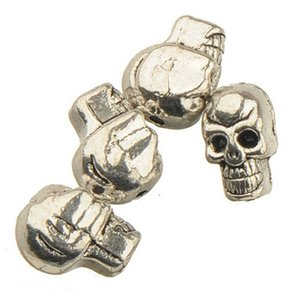 Vintage Silver Skeleton Head Beads Punk Bangles Handmade Material DIY Skull 3D Jewelery Findings Cool Boy Girl Fashion Metal 10*8*5mm 200pcs
