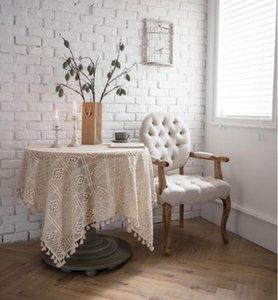 Nappe tissu de table rural serviette de couverture en coton crocheté main tissu de table tissé piano, nappe creux serviette accessoires de tir