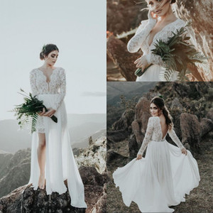 New Arrival Lace V Neck Long Sleeve Short Wedding Dresses Backless Chiffon A Line Beach Boho Wedding Gowns With Detachable Train