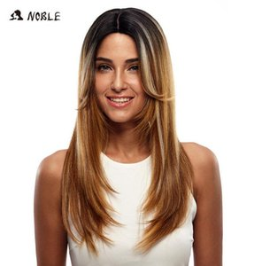 2020 New Noble Long Straight Synthetic Hair Lace Part Wig 24 Inch Wigs For Black Women 3 Colors 1B Red Mixed Cosplay Wig Free Shipping