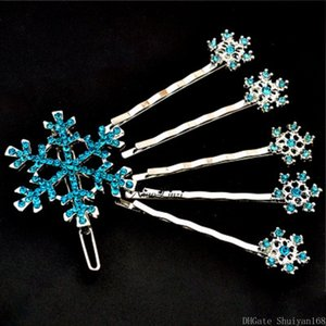 Weihnachtsschneeflo Hairpin-Kristallhaar-Klipp-Pin Strass Blume Haarschmuck Halloween für Frauen-Mädchen-Kind-Schmucksache Geschenk 6pcs / set