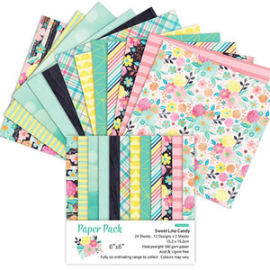 6inch Flor Vintage papéis impressos para Photo Album fundo Scrapbook Craft 24 Pieces Paper Pad Scrapbook do papel de DIY