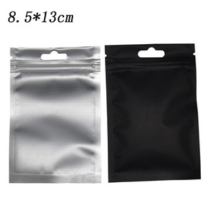 Mat Siyah Mylar Temizle Plastik Ambalaj Poşet Çanta Fermuar Top Paketi Çanta 100pcs Ambalaj 8.5 * 13cm ısıyla yapışabilir Alüminyum Folyo / lot