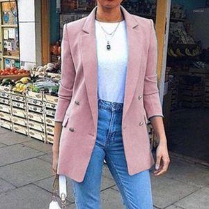 Taille Plus longues pour femmes Blazer Femmes Mode solide double breasted Bureau Blazers Manteaux Femme d'affaires Overcoat1