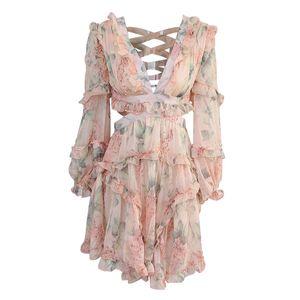 Оборками цветочные платья спинки цельный юбка женщины Сексуальная выдалбливают длинные рукава уздечка задний глубокий V воротник 189kz f1