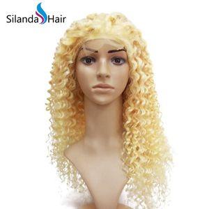 Большие скидки # 613 Blonde кудрявых Lace завитого Remy человеческих волос переднего полный шнурок парики для белых женщин Бесплатной доставки