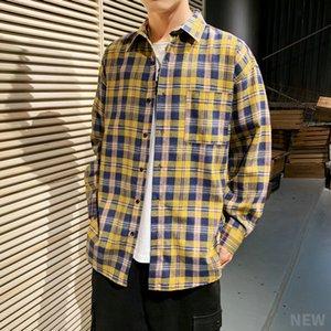 AIOPESON Manga comprida camisa xadrez camisa Mens Vestuário jaqueta casual street wear Fashion Trend Retro solto Oversize Mens