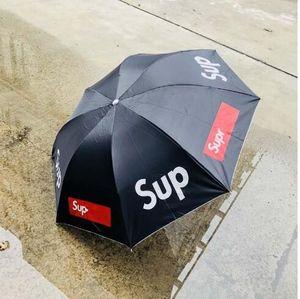 Katlama Öğrenci Şemsiye Sup Erkek Ve Kadın Şemsiyeler Güneşli Yağmur Güneş Ekran Çift Kullanımlı Kırmızı Siyah