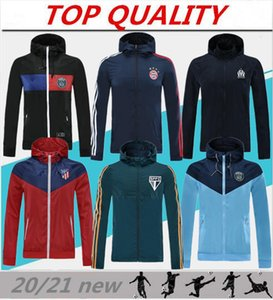 Kapüşonlu ceketler 2020 Real Madrid Paris futbol WINDBREAKER Olympique de Marseille Futbol ceket Sportswear fermuar üstü