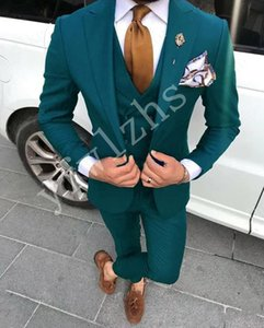 Custom-made Peak Lapel Groomsmen One Button Groom Tuxedos Men Suits Wedding Prom Dinner Best Man Blazer(Jacket+Pants+Tie+Vest) W185