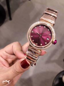 Üst Nakliye 33 MM Kırmızı Dial Joker Bayan Saatler Kuvars Bayanlar İzle İstenilen Asil Saatı Elmas Paslanmaz Çelik Bilezik ve Vaka