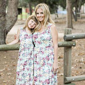 SICAK Çiçek Anne ve kızı Eşleştirme Çiçek Kadın Kızlar Uzun Maxi Elbiseler