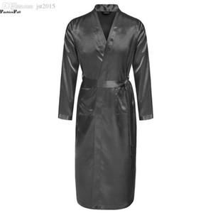 Vente en gros-Mens été Robes V-cou solide Kimono Peignoir long satin Robe de nuit Homme réglable à la taille Peignoir Albornoz Hombre ZD