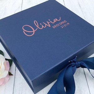 personalised Navy and rose gold bridesmaid gift box, white custom bridal party thank you boxes with name role date and message