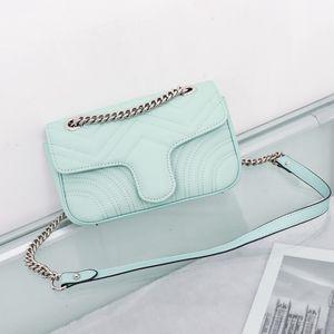 Top qualité 6 couleurs épaule femmes sac chaîne en argent sac à bandoulière de couleur pure crossbody Messenger portefeuille de bourse de sac fourre-tout