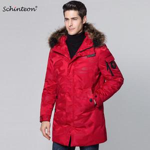 2019 Schinteon 남성 다운 자켓 100 % 진짜 너구리 모피 칼라 후드 90 % 백색 오리 아래로 위장 겨울 착실히 보내다 포켓을 따뜻하게