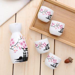 5PCS / LOT اليابان الخزف خمر السيراميك وعاء الإبريق الخمور الأرواح الكؤوس مجموعة غرف السفرة بار DRINKWARE اليابانية مجموعة ساكي النبيذ