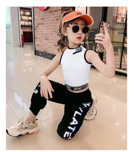Children's clothing girl suit summer clothes new children's luminous pants fashionable vest net red sports two-piece suit cool